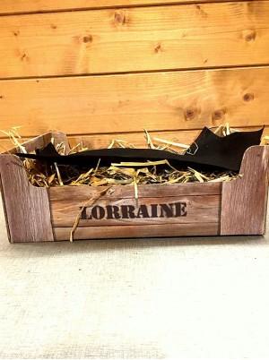 """Emballage coffret cadeau :Cagette carton imitation bois """"Lorraine"""" offert"""