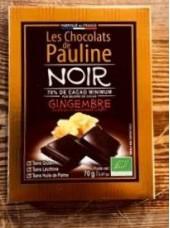 Chocolat Noir Bio 70% de cacao avec gingembre confit-70g