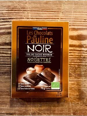 Chocolat Noir Bio 70% de cacao aux éclats de noisettes-70g