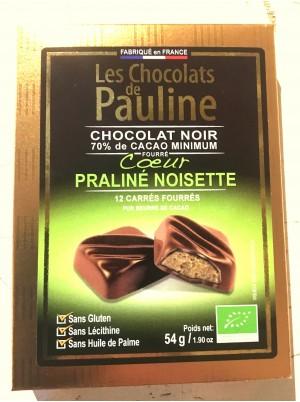 Carrés de chocolat Noir 70% fourrés au praliné noisette-54g