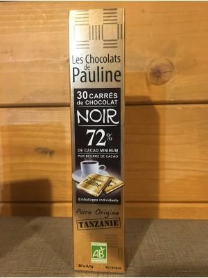 30 Carrés individuels de chocolat Noir Bio 72%