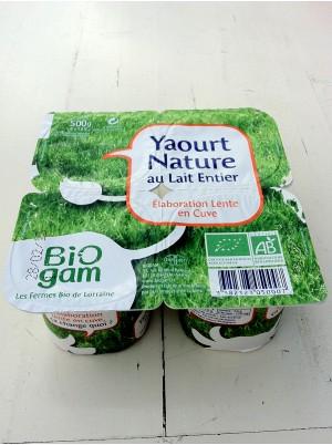 Yaourt Nature lait entier Bio X 4 Lorraine