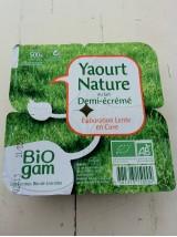 Yaourt Nature 1/2 écrémé Bio  X4 Lorraine